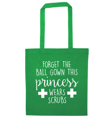 Forget the ball gown this princess wears scrubs green tote bag