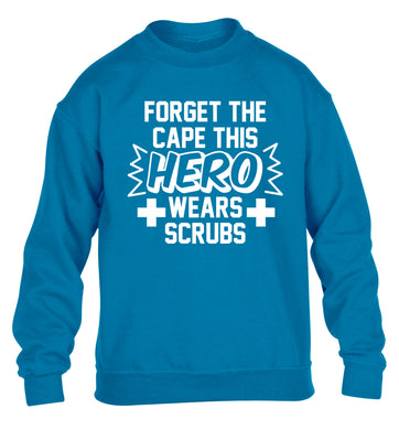 Forget the cape this hero wears scrubs children's blue sweater 12-14 Years
