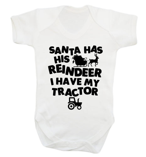 Santa has his reindeer I have my tractor Baby Vest white 18-24 months