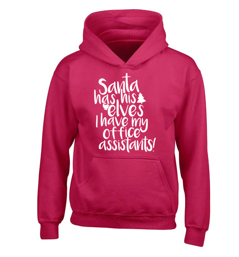 Santa has elves I have office assistants children's pink hoodie 12-13 Years