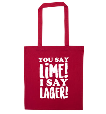 You say lime I say lager! red tote bag