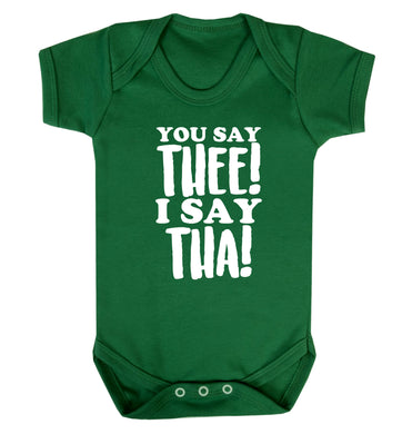 You say thee I say tha Baby Vest green 18-24 months