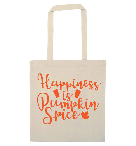 Happiness Pumpkin Spice natural tote bag