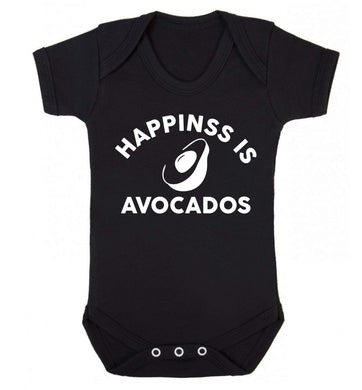 Happiness is avocados Baby Vest black 18-24 months