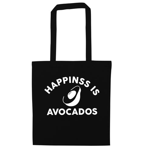 Happiness is avocados black tote bag