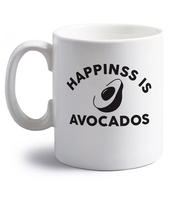 Happiness is avocados right handed white ceramic mug