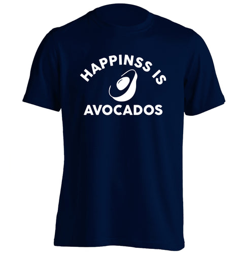 Happiness is avocados adults unisex navy Tshirt 2XL