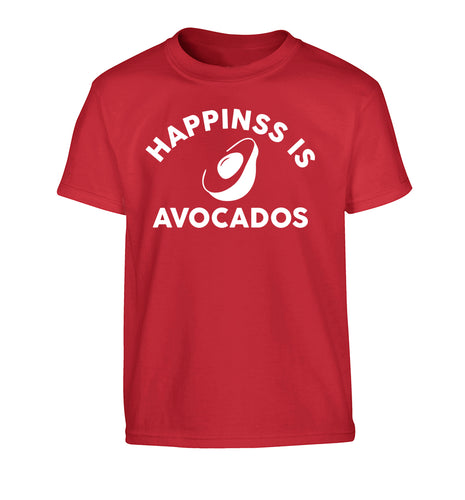 Happiness is avocados Children's red Tshirt 12-14 Years