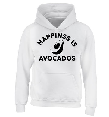 Happiness is avocados children's white hoodie 12-14 Years