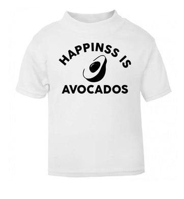 Happiness is avocados white Baby Toddler Tshirt 2 Years