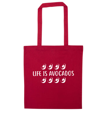 Life is avocados red tote bag