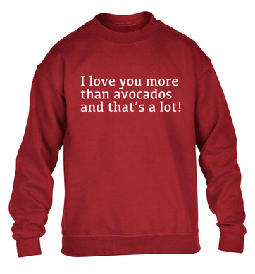 I love you more than avocados and that's a lot children's grey sweater 12-14 Years