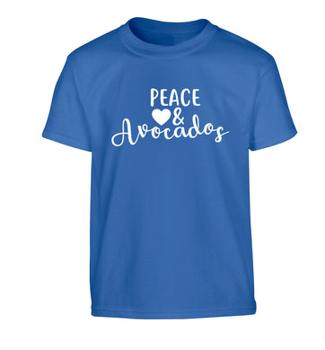 Peace love and avocados Children's blue Tshirt 12-14 Years