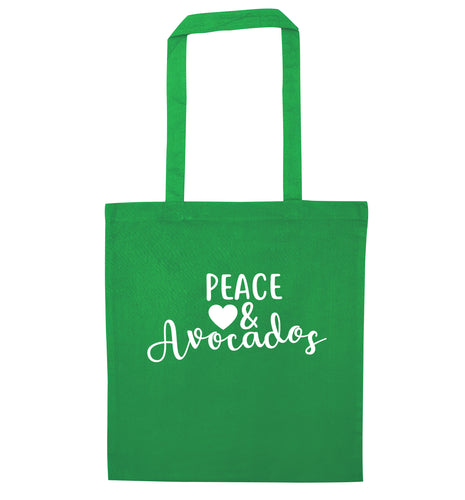 Peace love and avocados green tote bag