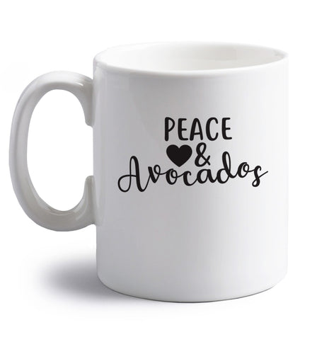 Peace love and avocados right handed white ceramic mug