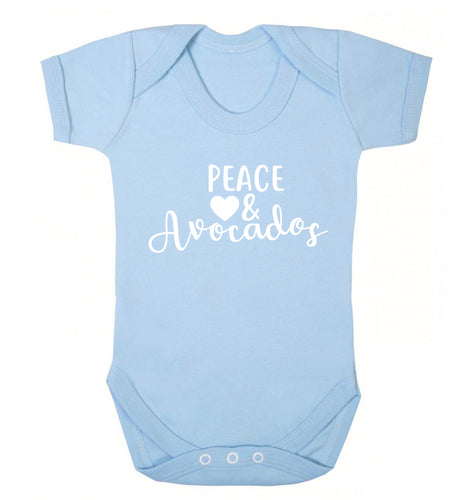 Peace love and avocados Baby Vest pale blue 18-24 months
