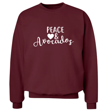 Peace love and avocados Adult's unisex maroon Sweater 2XL