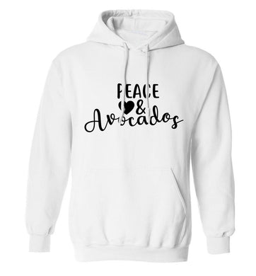 Peace love and avocados adults unisex white hoodie 2XL