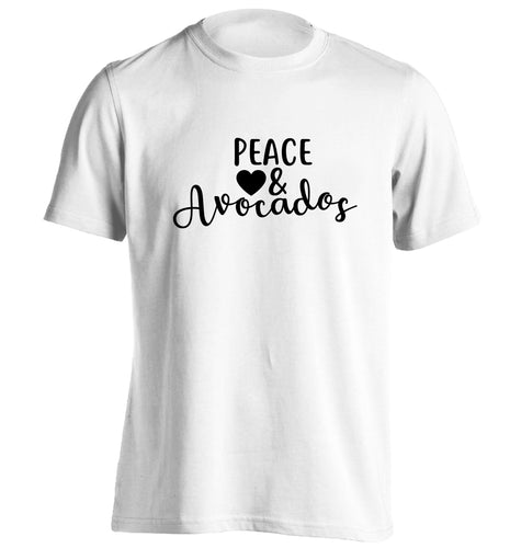 Peace love and avocados adults unisex white Tshirt 2XL
