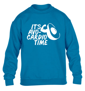 It's avo-cardio time children's blue sweater 12-14 Years
