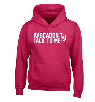 Avocadon't talk to me children's pink hoodie 12-14 Years