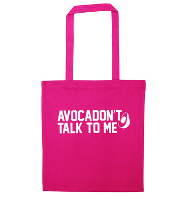 Avocadon't talk to me pink tote bag