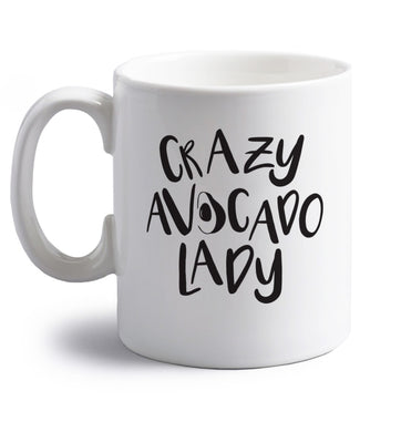 Crazy avocado lady right handed white ceramic mug