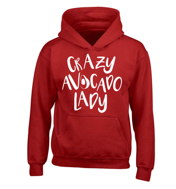Crazy avocado lady children's red hoodie 12-14 Years