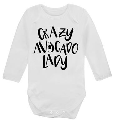 Crazy avocado lady Baby Vest long sleeved white 6-12 months