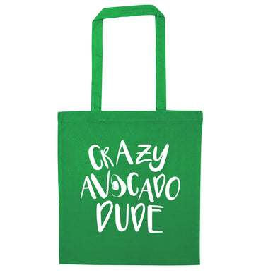 Crazy avocado dude green tote bag