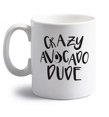 Crazy avocado dude right handed white ceramic mug