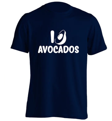 I love avocados adults unisex navy Tshirt 2XL