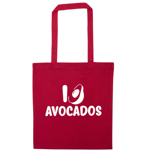 I love avocados red tote bag