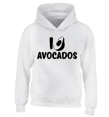 I love avocados children's white hoodie 12-14 Years