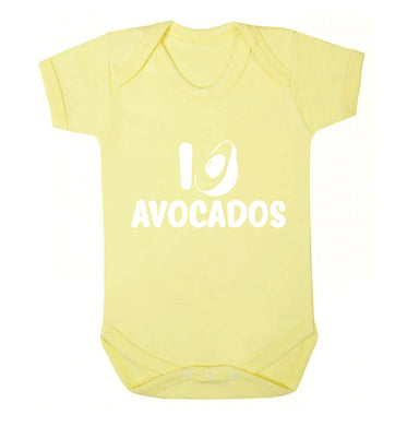 I love avocados Baby Vest pale yellow 18-24 months