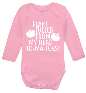 Plant fueled from my head to-ma-toes Baby Vest long sleeved pale pink 6-12 months