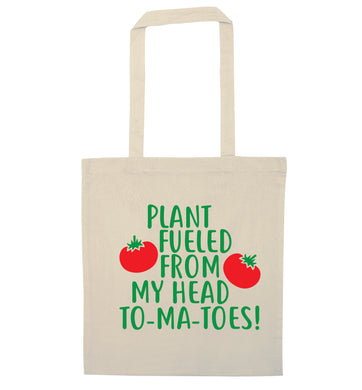 Plant fueled from my head to-ma-toes natural tote bag