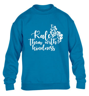 Kale them with kindness children's blue sweater 12-14 Years