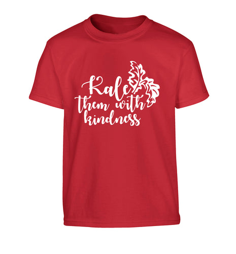 Kale them with kindness Children's red Tshirt 12-14 Years