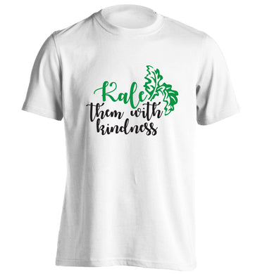 Kale them with kindness adults unisex white Tshirt 2XL