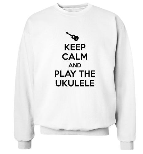 Keep calm and play the ukulele Adult's unisex white Sweater 2XL