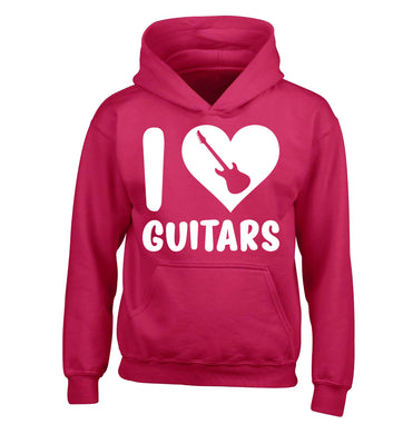 I love guitars children's pink hoodie 12-14 Years
