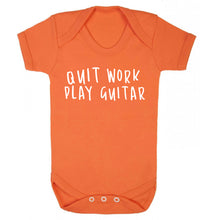 Quit work play guitar Baby Vest orange 18-24 months