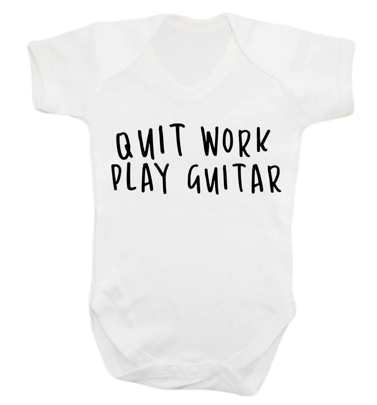 Quit work play guitar Baby Vest white 18-24 months