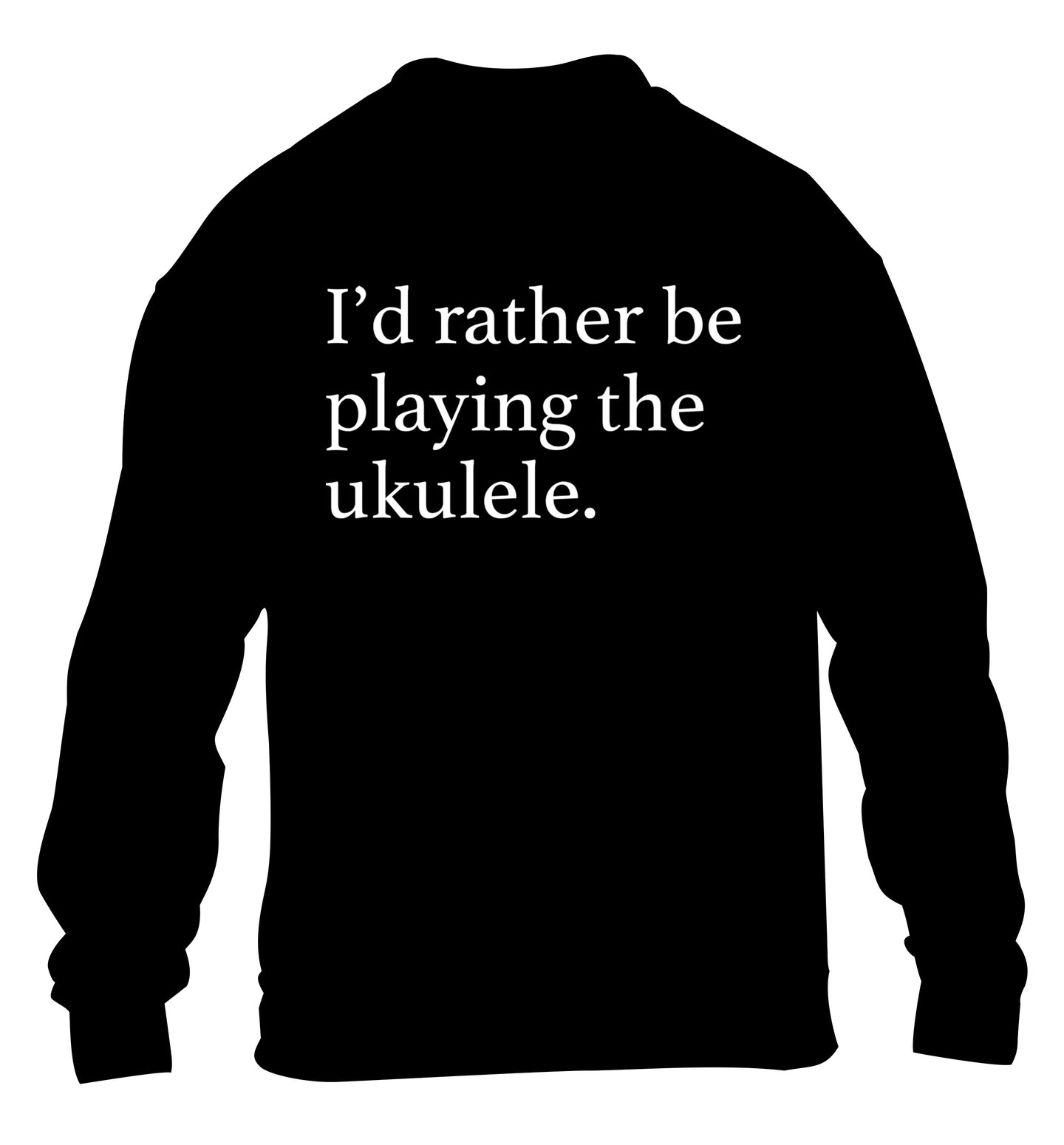 I'd rather by playing the ukulele children's black sweater 12-14 Years