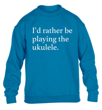 I'd rather by playing the ukulele children's blue sweater 12-14 Years