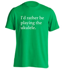 I'd rather by playing the ukulele adults unisex green Tshirt 2XL