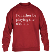 I'd rather by playing the ukulele children's grey sweater 12-14 Years