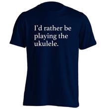 I'd rather by playing the ukulele adults unisex navy Tshirt 2XL