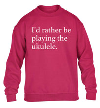I'd rather by playing the ukulele children's pink sweater 12-14 Years